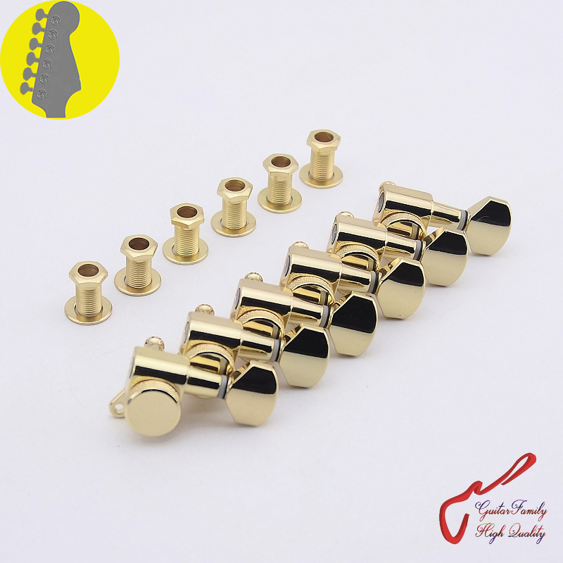 1 Set GuitarFamily 6 In-line Locking Guitar Machine Heads Tuners Gold ( #0246 ) MADE IN KOREA