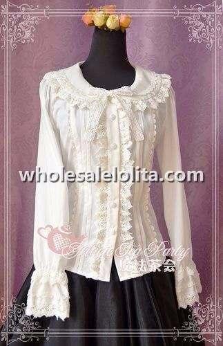 Кремово-белая блузка Лолита из хлопка и кружева с длинными рукавами, рубашка в готическом стиле, блузка на заказ
