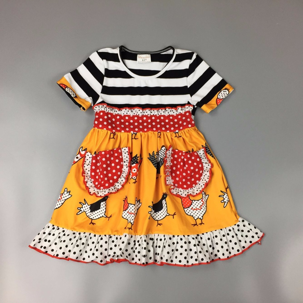 New Mustard yellow Turkey print dress Girl's gift Bucolic children's wear baby kids dress landscape print longline dress