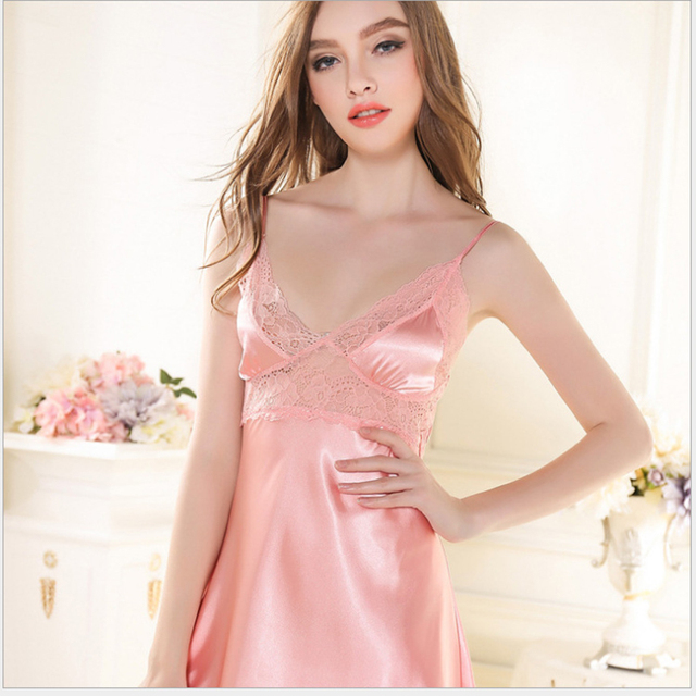 New Arrival Women's Lace Nightgowns Silk Satin Sexy Nightdress Hollow Out Sleeveless Mini Sleepwear Young Girl