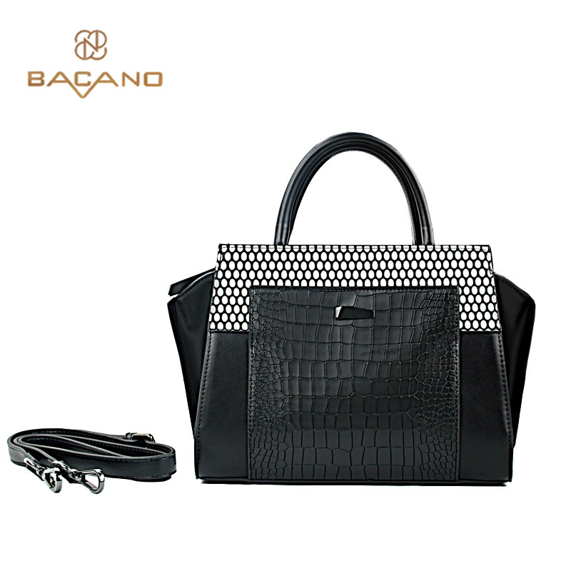 Bacano Alligator Black white Dot Vintage Women Bags 2017 Popular Women HandBags Synthetic Leather Shoulder Bags bolsa feminina