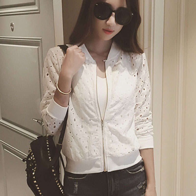 Fashion Women Bomber Jacket Long Sleeve Lace Sunscreen Shirt Short Summer Thin Coat Casual Baseball Coat -MX8