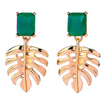 pair of stylish faux turquoise leaf alloy drop earrings for women Gold Color Alloy Hollowed Leaf Green Resin Rectangle Drop Earrings for Women Fashion Jewelry E40