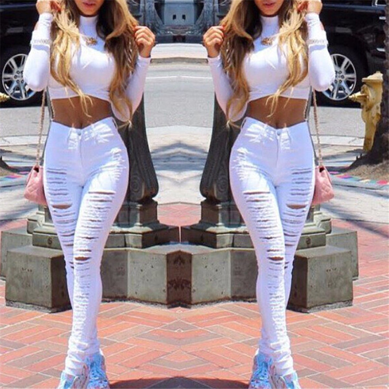 women jeans fashion destoryed Summer style white hole ripped jeans jeggings denim high waist pants Female skinny pants 2color uanloe 2017 autumn white hole ripped jeans women jeggings cool denim high waist pants capris female skinny black casual jeans