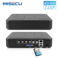 MISECU 4 Channel AHD DVR AHD M 720P Surveillance Security CCTV Recorder 4CH Mini Hybrid HDMI Support IP Analog AHD Camera P2P