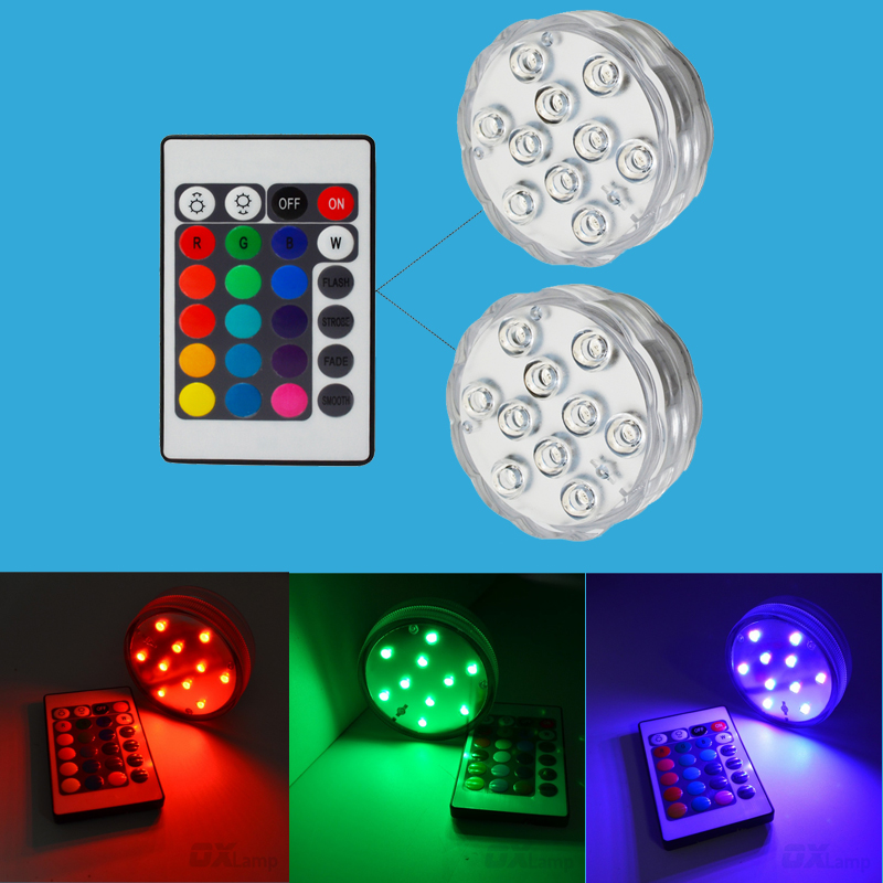 Battery Operated LED Underwater Light 10 led RGB Submersible Candle Lights Vase Base LED ...