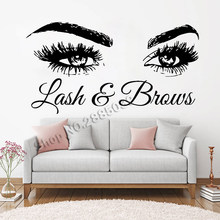 Lash & Brows Large Eyes Quote Wall Decals Fashion Creative Vinyl Eyelashes Beauty Salon Wall Stickers Eyebrows Store Decor LC722(China)