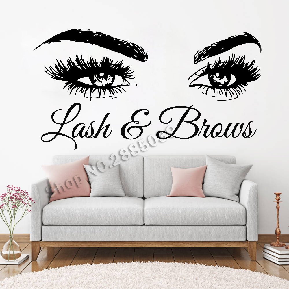 29e48be0932 Lash & Brows Large Eyes Quote Wall Decals Fashion Creative Vinyl Eyelashes  Beauty Salon Wall Stickers Eyebrows Store Decor LC722