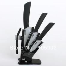 Al por mayor-Set de 4 Unidades De Cerámica Del Cuchillo de 3 pulgadas 4 pulgadas 6 pulgadas Cuchillo + un Peeler Block + Holder conjunto