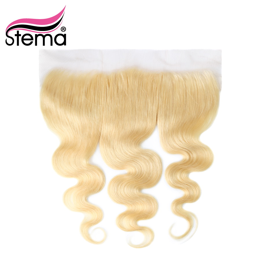 stema 613 full blonde brazilian remy hair lace frontal closure free part body wave 13x4 bleached. Black Bedroom Furniture Sets. Home Design Ideas