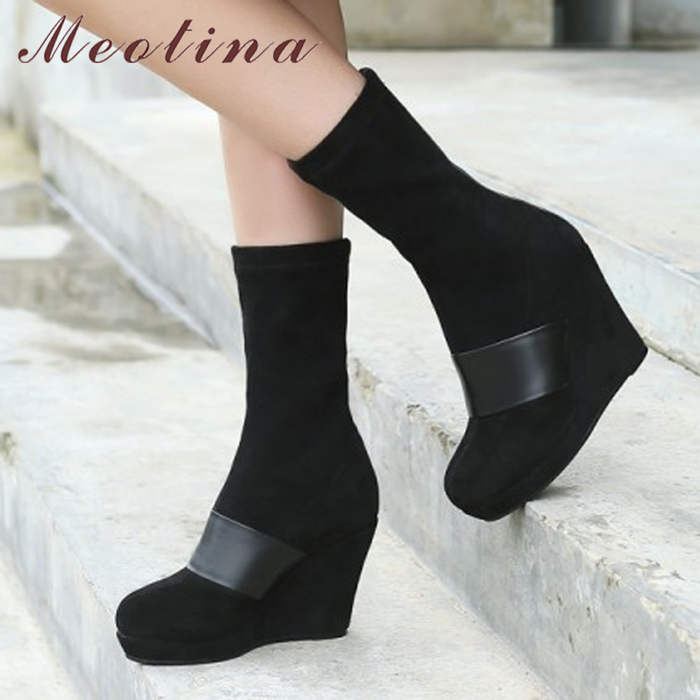 Meotina Natural Genuine Leather Boots Winter Shoes Women Mid Calf Boots Kid Suede Platform Wedge Boots High Heel Footwear Autumn wedge heel faux suede mid calf sock boots