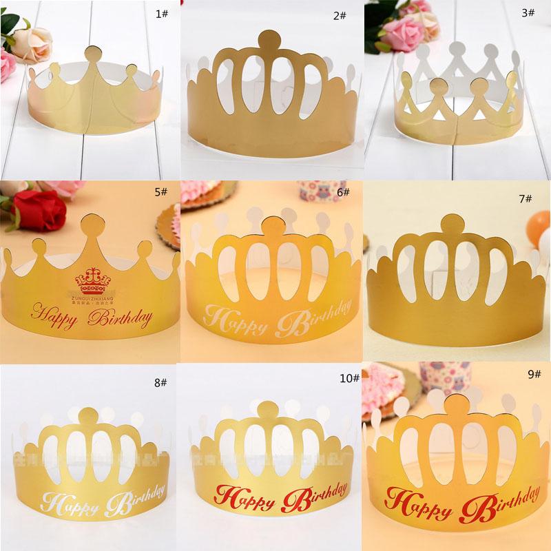 desechables de papel en blanco de cumpleaos corona sombrero para adultos nios tarjeta de oro caps