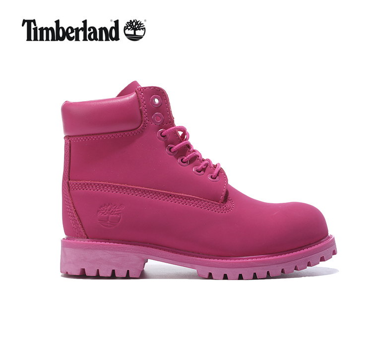 TIMBERLAND Women 10061 Dark Pink Showy Martin Motorcycle Outdoor Ankle Boots,Woman Girl Leather Street None-Slip Casual Shoes