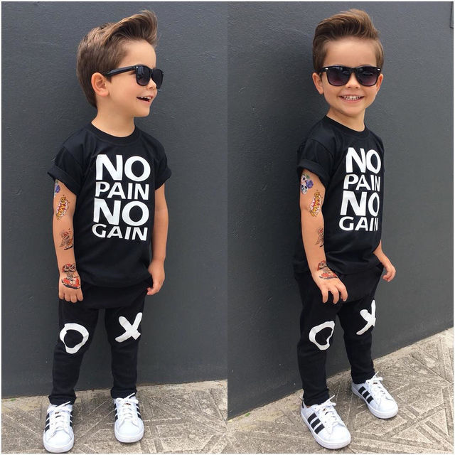 9d62a681569f Children Boys Clothing 2PCS Kids Baby Toddler Boy Clothes Set T-shirt Tops  Pants Leggings Outfits