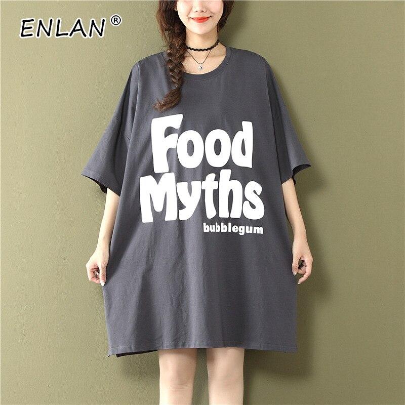 Lettre coréenne imprimé grande taille lâche robe été 2019 à manches courtes t-shirt robe femme