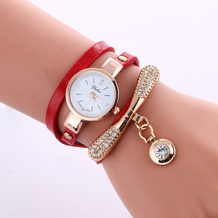 100 sztuk/partia ślubne yuhao mini pasek skórzany zegarek wrap kwarcowy owinąć wokół kwarcowy elegancja zegarek hurtownie złoty godzina w Zegarki damskie od Zegarki na  Grupa 1