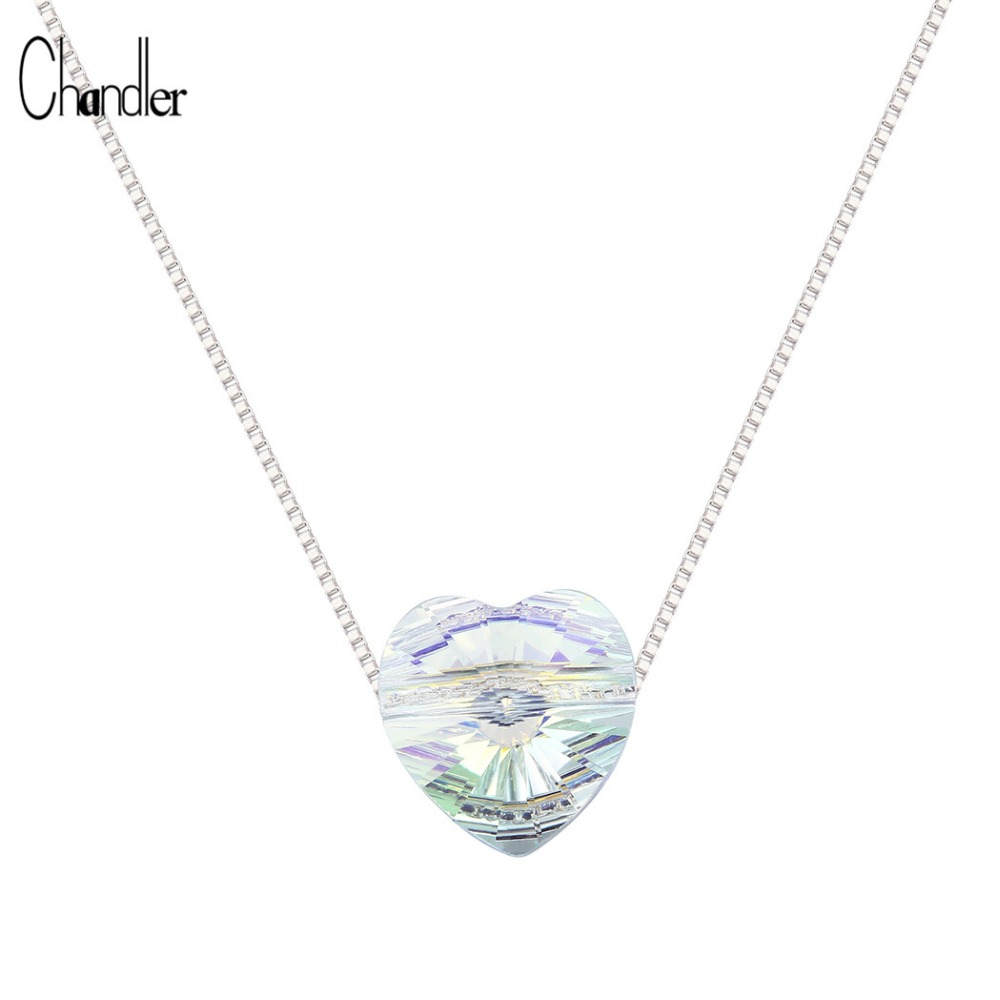 925 Sterling Silver Austria Aurora Crystal Heart Pendant Necklaces Clear  Phase Love Charm Women Gift CZ Auden Rhinestone Jewelry-in Pendant Necklaces  from ...