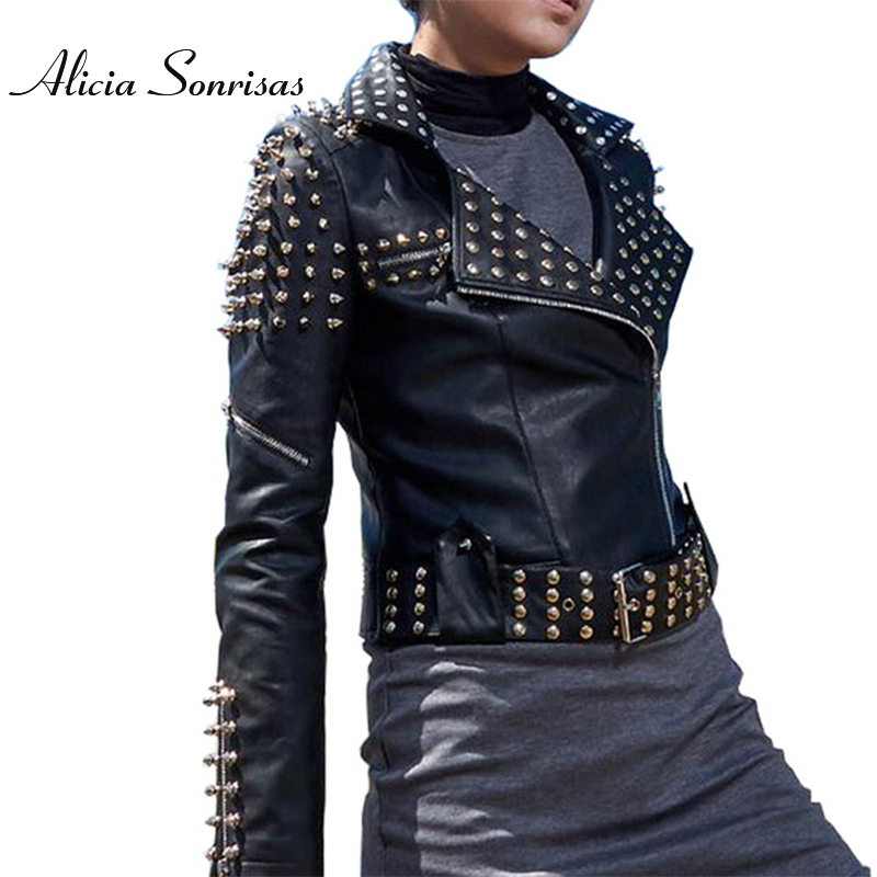 2018 Spring Casaco Feminino Silver Black   Leather   Jacket Women Punk Spikes Stars Slim Rivets Motorcycle Perfecto Biker Coat