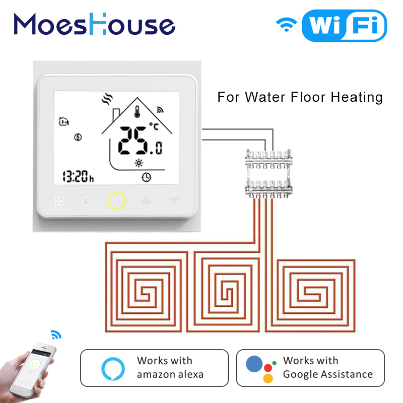 Thermostat intelligent WiFi régulateur de température eau chaude plancher chauffant fonctionne Amazon Alexa Echo Google maison Tuya APP contrôle