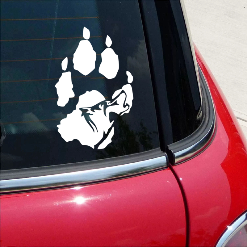 CS 1256 12 18cm Wolf paw funny car sticker vinyl decal silver black for auto car stickers styling in Car Stickers from Automobiles Motorcycles