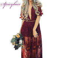 Women S Sexy Deep V Neck Short Sleeve Floral Lace Applique Maxi Slit Dress High Waist