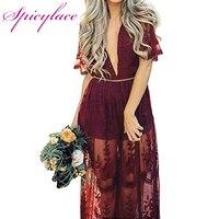Spicylace جنسي الجوف الدانتيل الأبيض ثوب المرأة عالية الخصر أكمام عارية الذراعين اللباس الأنيق هوليوود ماكسي فستان طويل vestidos