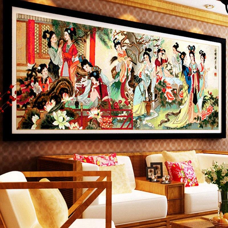 Diy punto croce donne cinesi a punto croce kit ricamo cucito 12 beauty pittura murale art decor grande immagine modello