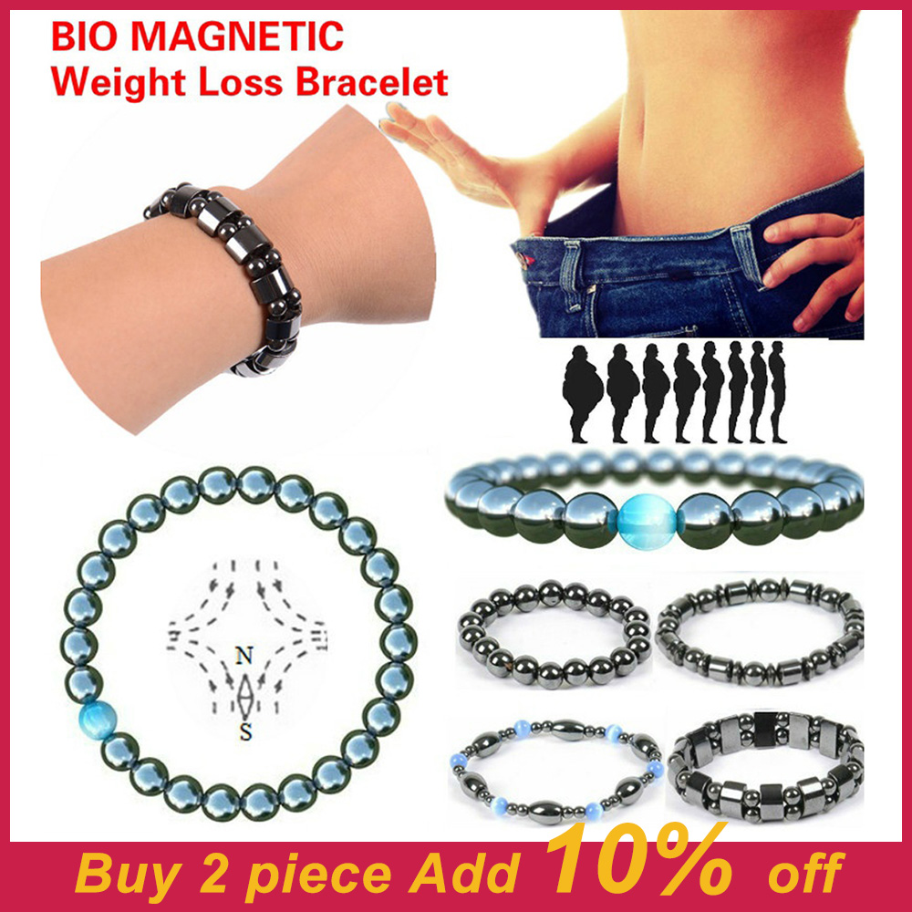 1Pc Magnet Bracelet Slimming Weight Loss Bracelet Slimming Hand Chain Round Hematite Magnetic Stone Therapy Jewelry Health Care