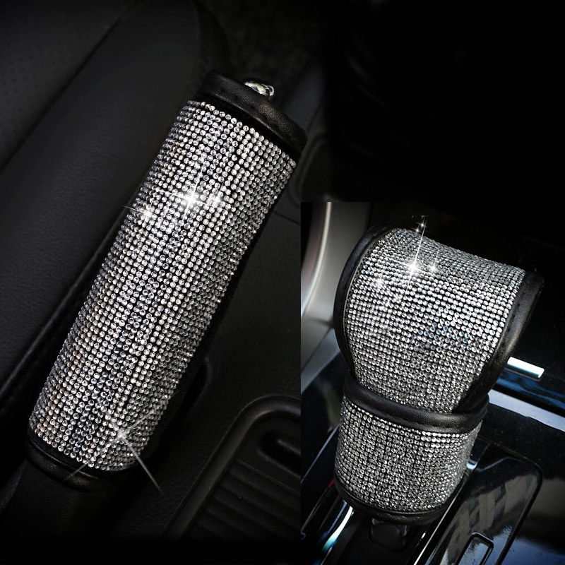 2Pcs/Set Crystal Diamond Car Handbrake Cover Gear Shifter Knob Cover Auto Shiny Hand Brake Cover Car Accessories for Girls