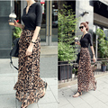 2016 Spring New Women Satin Leopard Print High Waist Pleated Long Puff Midi Skirt Ms. summer beach skirts