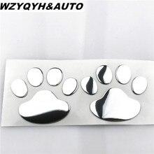 2pcs/ Lot Stylish Silver Funny Bear Paw Pet Animal Footprint Emblem 3D Cartoon Car Stickers Decor Auto Accessories Free Shipping