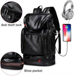 Men Anti theft Backpack with USB Charge Male Laptop Backpack PU Leather Black Travel Backpack Waterproof Travel Bag For men