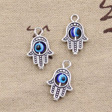 10pcs Charms hamsa hand scrollable devil eye 20*12mm Antique Silver Plated Pendants Making DIY Handmade Tibetan Silver Jewelry(China)
