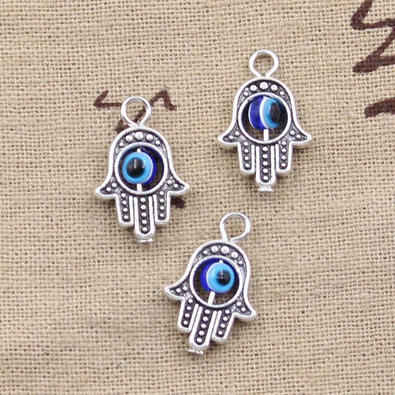 10pcs Charms hamsa hand scrollable devil eye 20x12mm Antique Silver Plated Pendants Making DIY Handmade Tibetan Silver Jewelry