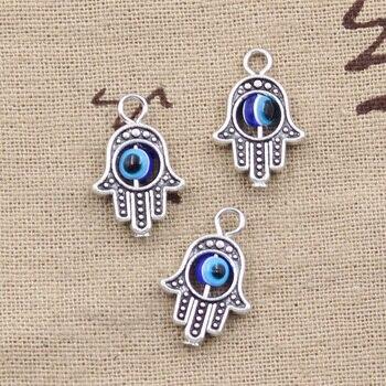 12pcs Charms Hamsa Hand Scrollable Devil Eye 20x12mm Antique Silver Color Pendants Making DIY Handmade TibetanJewelry