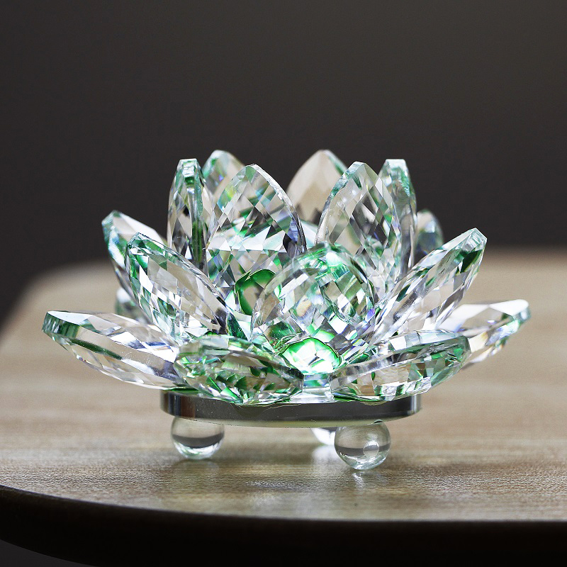 K9 Crystal Lotus Flower Pure Stones Glass Paperweight Feng shui Crafts Presents Dwelling Ornament Equipment Miniature Collectible figurines Collectible figurines & Miniatures, Low-cost Collectible figurines & Miniatures, K9 Crystal...