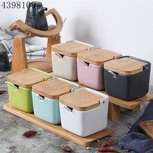 Творческий японский стиль раскладушка керамическая приправа jar/баночка для соли и перца ароматизатор инструмент приправа jar кухонные принадлежности