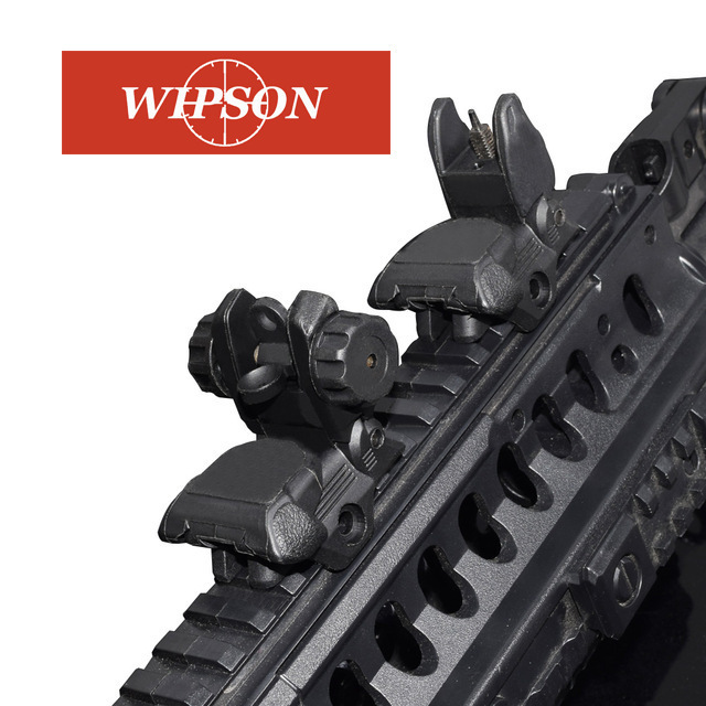 WIPSON Polymer Flip_up Rifle Sights Kit Rear And Front Sight Folding Iron Sights For Rifles And Shotguns Picatinny Rail Handguar
