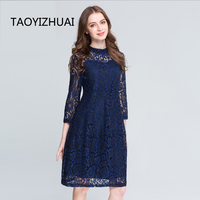 TAOYIZHUAI Lace Dress For Women Plus Size L 5XL High Street Zipper Fly Dark Blue Hollow Out Fasionable 2019 Autumn Dress 16050