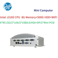 Intel celeron J3160 quad core Micro ATX IPC with 6 serial port 2 Lan for firewall (with 8G 500G 2.5 inch HDD WIFI)