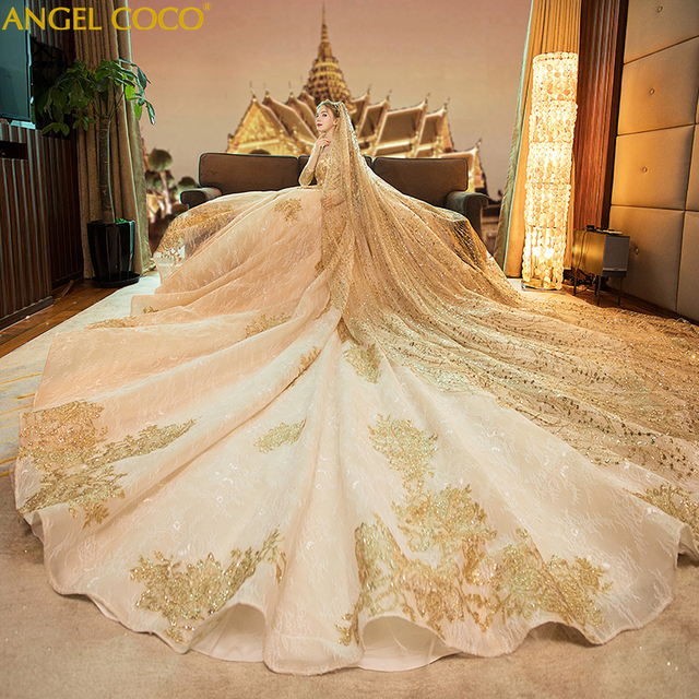 Luxury Saudi Arabia Pregnant Wedding Dress Retro Champagne Gold Bride Long Sleeve Winter Maternity Gown Dubai Abaya 3M Veil 2019