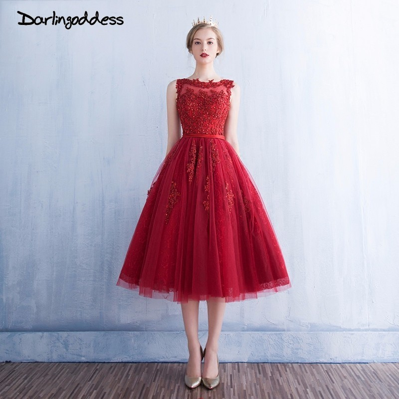 Us 696 30 Offburgundy Short Prom Dresses 2018 Vestido Corto De Fiesta Cheap Lace Appliques Beaded Tea Length Formal Cocktail Party Dress In Prom