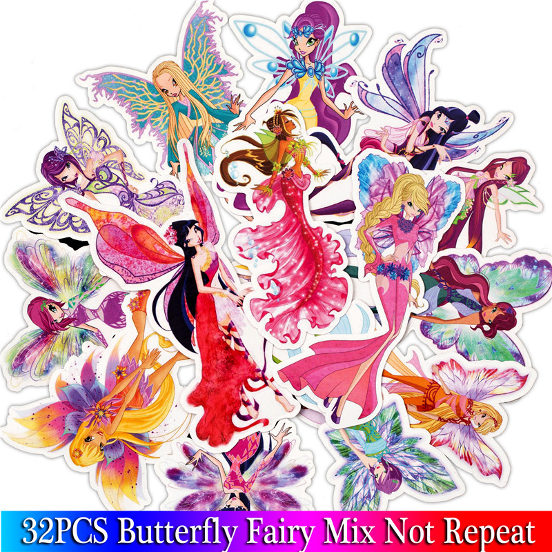 32PCS Butterfly Fairy Princess Stickers For Scrapbooking DIY Laptop Luggage Skateboard  Bedroom Sticker