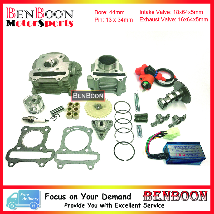 GY6 60cc 44mm Cylinder & Head Kit with Roller Weight Spark plug and other accessories Znen Baotian Roketa Jmstar Free Shipping 38mm cylinder barrel piston kit