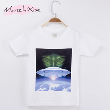 Kids T-Shirt For Boys Alien Spaceship UFO Cartoon Monster Print Cotton Child Boy Short Sleeve T Shirt Girl Top Tee Free Shipping alien print tee