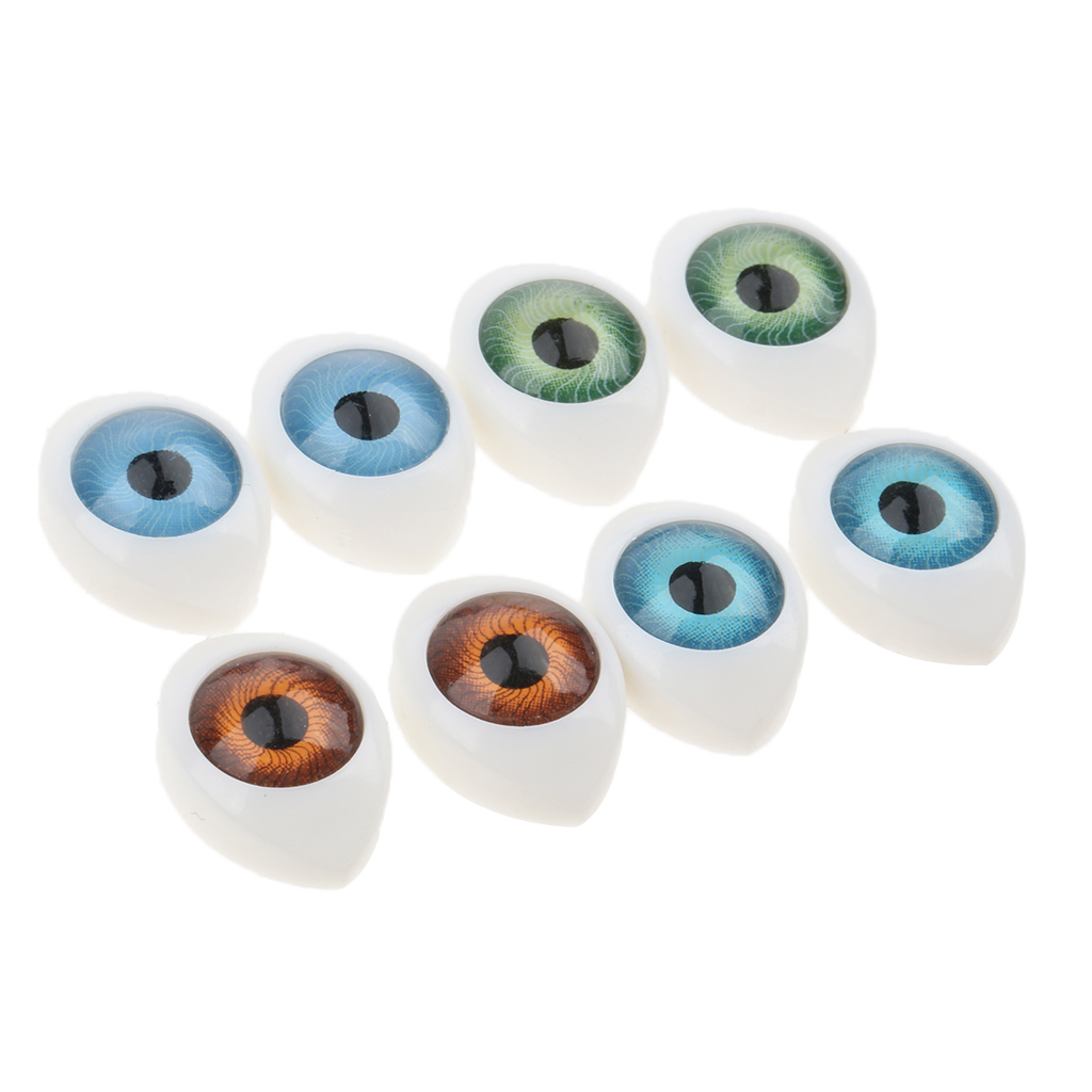8pcs 4 Color Oval Hollow Back Plastic Eyes For Doll Mask DIY 9mm