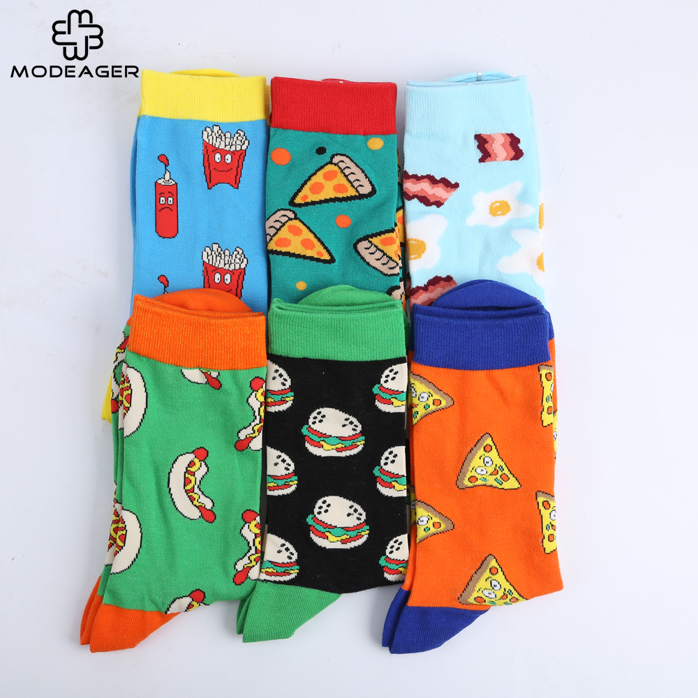 Modeager Brand French fries Hamburger Pizza Sausage Food Men Cotton Socks Loves