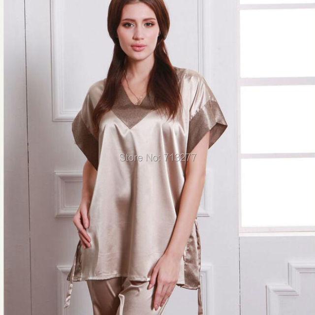 SSH013 Mulheres Conjuntos de Pijama de Seda Sleepwear Feminino Cetim Sólida Primavera Outono-Verão de manga curta Pijama Loungewear Conjunto Champanhe