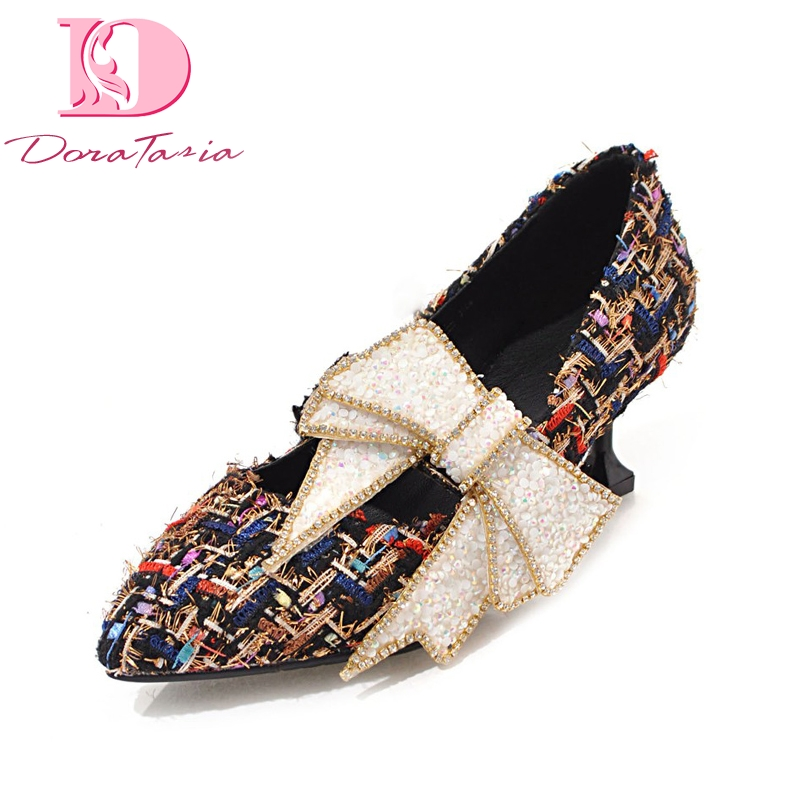 Doratasia <font><b>2018</b></font> Fashion big size 32-43 big bow <font><b>top</b></font> <font><b>quality</b></font> spring <font><b>shoes</b></font> <font><b>women</b></font> <font><b>pumps</b></font> <font><b>sexy</b></font> <font><b>high</b></font> <font><b>heels</b></font> party wedding <font><b>shoes</b></font> woman image