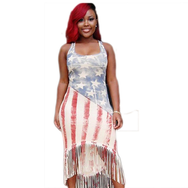 Women fringed Dress 2017 Classic style women plus size dress flag ...